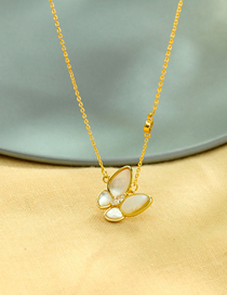 Fashion Golden Shell Zircon Butterfly Alloy Necklace