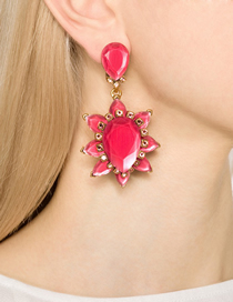 Fashion Red Alloy Earrings With Gems And Flowers