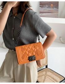 Fashion Orange Emblem Diamond Chain Shoulder Messenger Bag