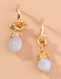 Fashion Golden C-shaped Hand-knotted Natural Agate Stone Alloy Earrings