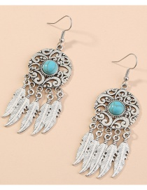 Fashion Silver Hollow Carved Dream Catcher Feather Tassel Earrings