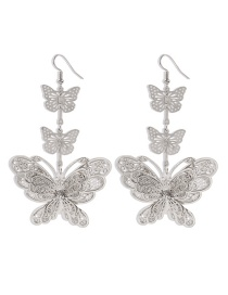 Fashion White K Diamond Butterfly Alloy Hollow Earrings