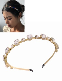 Fashion White Gems Inlaid Geometric Alloy Thin-edged Headband