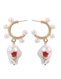 Fashion Golden Pearl Rose Print Geometric Earrings