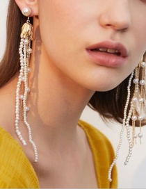 Fashion Golden Pearl Alloy Tassel Earrings