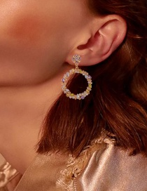 Fashion Color Diamond Geometric Round Alloy Hollow Earrings