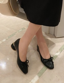 Fashion Black Block Color Square Toe Bow Thick Heel Shoes