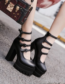 Fashion Black Thick-soled Thick Heel Waterproof Platform Ultra-high Belt Buckle Hollow Ankle Boots