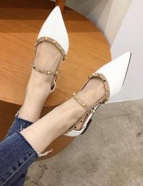 Fashion White Rivet Pointed Toe Flat Pumps