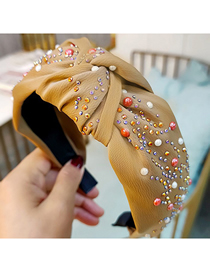 Fashion Brown Diamond-studded Broad-sided Knotted Fabric Hair Band