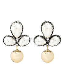 Fashion White Alloy Inlaid Pearl Flower Earrings