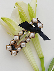 Fashion Mixed Beads Square Folder Pearl Bow Geometric Alloy Hairpin