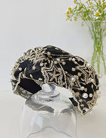Fashion Black Pearl Lace Knotted Wide-brimmed Mesh Headband