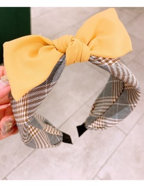 Fashion Yellow Plaid Bow Stitching Contrast Color Wide-brim Hair Band