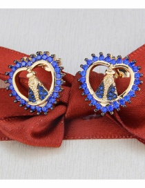 Fashion Blue Gold-plated Zircon Heart-shaped Madonna Earrings
