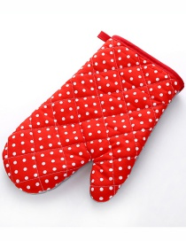 Fashion Small Dot-red Thickened Heat-insulated Microwave Oven Special Baking Gloves