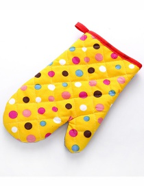 Fashion Big Dot-yellow Thickened Heat-insulated Microwave Oven Special Baking Gloves