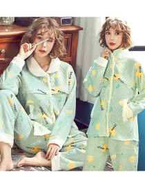 Fashion Lemon Thickened Quilted Layer Printed Confinement Wear Nursing Pajamas Set