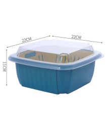 Fashion Blue Double-layer Fruit Tray Household Dust-proof Vegetable Storage Basket With Lid