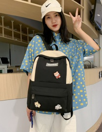 Fashion Black And White Send Badge Pendant Stitching Contrast Badge Backpack
