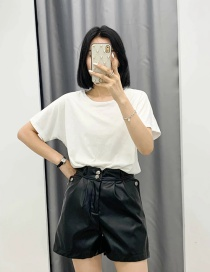 Fashion Black Two Button Solid Color Leather Shorts