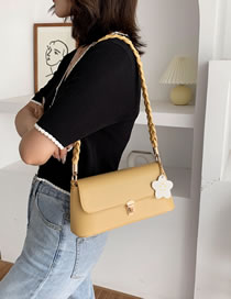 Fashion Yellow Braided Rope Flower Lock Underarm Shoulder Bag
