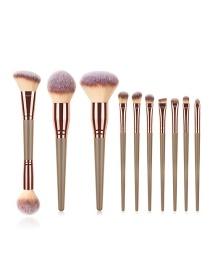 Fashion 10 Pen Gold Wooden Handle Aluminum Tube Makeup Brush Set
