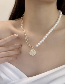 Fashion Golden Pearl Chain Stitching Alloy Geometric Necklace