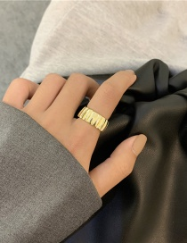 Fashion Golden Striped Wide Alloy Ring