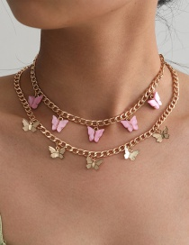 Fashion Gold Color Butterfly Resin Alloy Multilayer Necklace