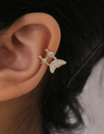 Fashion Gold Color Small Butterfly Alloy Earrings With Micro Diamonds