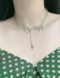 Fashion Silver Butterfly Alloy Hollow Round Necklace