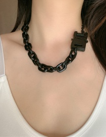 Fashion Black Painted Matt Gold Safety Buckle Necklace