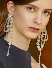 Fashion White Frosted Irregular Crystal Beaded Hand-woven Long Earrings