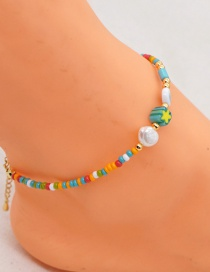 Fashion Color Mixing Handmade Rice Beads Beaded Eyes Alloy Anklet
