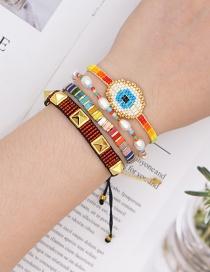 Fashion Suit Color Mixing Handmade Rice Beads Braided Eye Rivet Bracelet