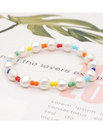 Fashion Color Mixing Natural Pearl Handmade Rice Bead Braided Bracelet