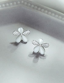 Fashion White Gold Flower Opal And Diamond Alloy Earrings