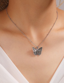 Fashion Silver Alloy Hollow Butterfly Necklace
