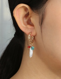 Fashion Golden Pearl Turquoise Geometric Alloy Earrings