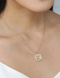 Fashion Golden Character Embossed Geometric Pendant Necklace