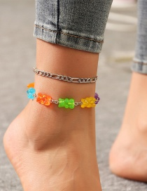 Fashion Thick Chain Resin Bear Alloy Anklet