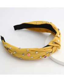 Fashion Yellow Cloth Alloy Round Resin Wide Side Knotted Headband