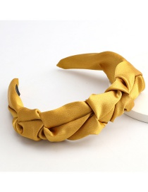 Fashion Yellow Solid Color Fabric Fabric Pleated Broad-side Headband