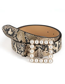 Fashion Brown Japanese Word Inlaid Pearl Square Buckle Belt
