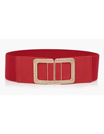 Fashion Red Buckle-applied Leather Alloy Elastic Elastic Belt