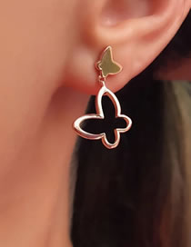 Fashion Rose Gold Dripping Butterfly Alloy Hollow Earrings