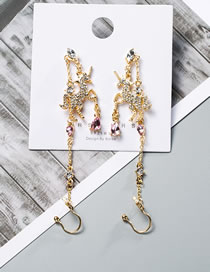 Fashion Golden Diamond Unicorn Tassel Alloy Earrings