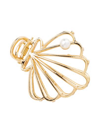 Fashion Golden Pearl Shell Mesh Hollow Clamp