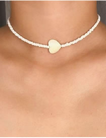 Fashion White Peach Heart Pearl Beaded Rice Bead Necklace